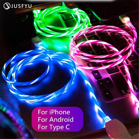 Image of SuperFlow USB LED Flow Charging Cable 2M Long Mobile Phone Chargers Alpha Bargain For iPhone Blue