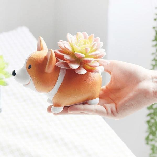 Mini Corgi Planter Pots Alpha Bargain B- Back Style