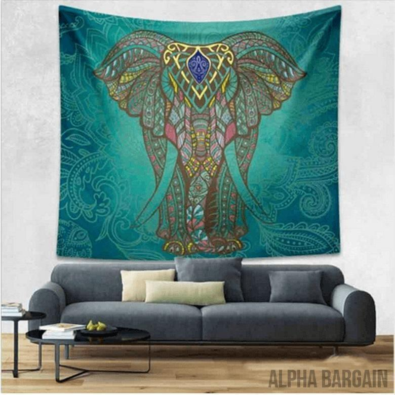 ELEPHANT TAPESTRY Alpha Bargain Tealish Green 210x150cm