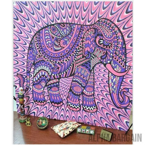 Image of ELEPHANT TAPESTRY Alpha Bargain Pink Purple 210x150cm