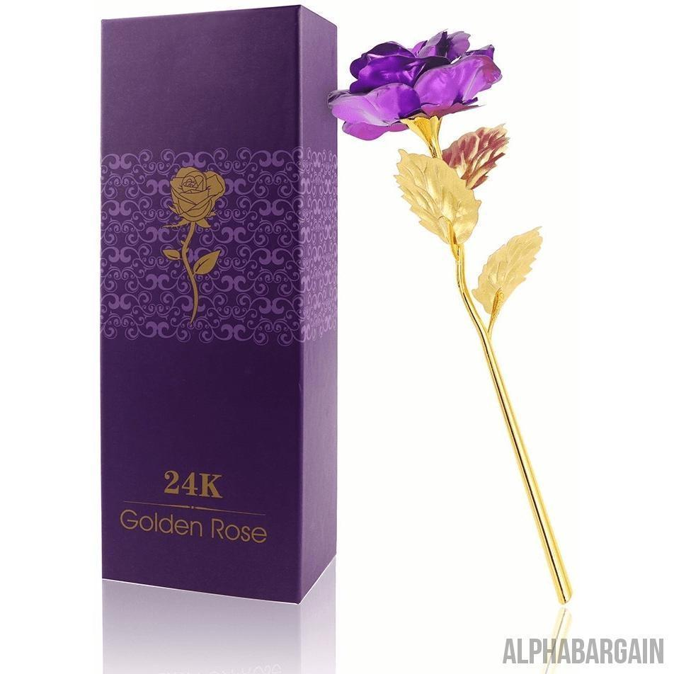 24K Gold Plated Rose Vital Survivalist Purple Rose