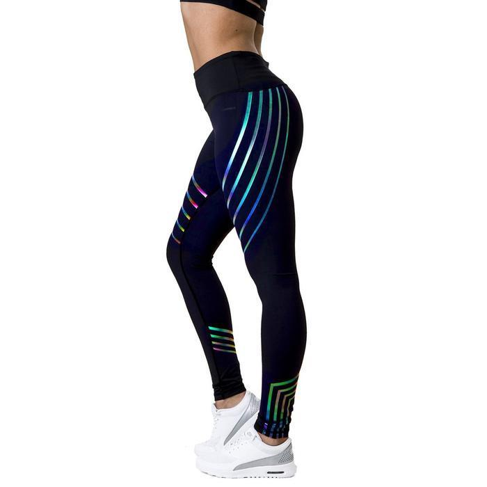 Flash™ Rainbow Reflective Leggings Yoga Pants keptfeet Outdoor Store Black S