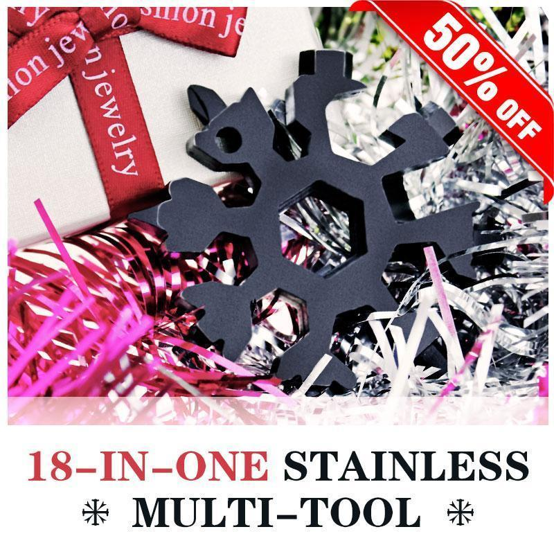 Khaotic™ 18-in-1 Stainless Steel Snowflakes Multi-Tool Bicycle Repair Tools Light of movement Store Black