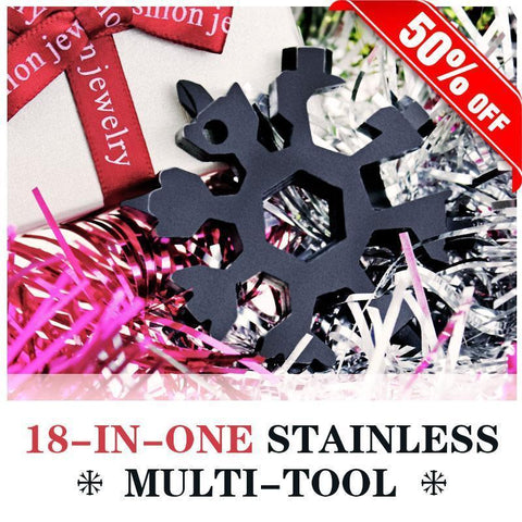 Image of Khaotic™ 18-in-1 Stainless Steel Snowflakes Multi-Tool Bicycle Repair Tools Light of movement Store Black