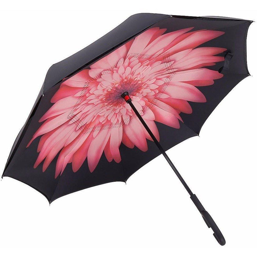 Pink Daisy DOUBLE LAYER C-SHAPED HANDLE REVERSIBLE UMBRELLA - Alpha Bargain