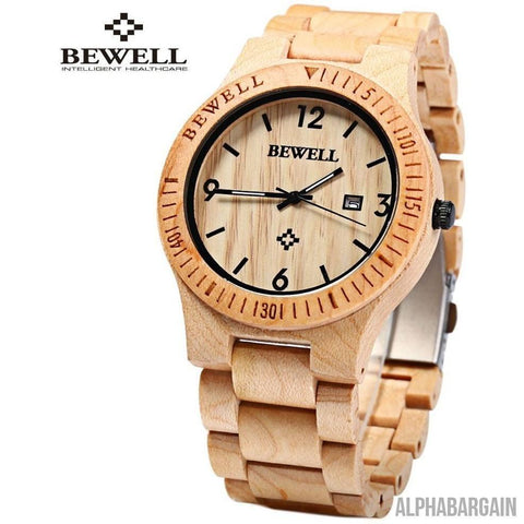 Image of Bewell Luxury Wood Watch Alpha Bargain MAPLE WOOD
