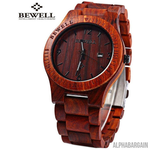 Image of Bewell Luxury Wood Watch Alpha Bargain RED SANDALWOOD
