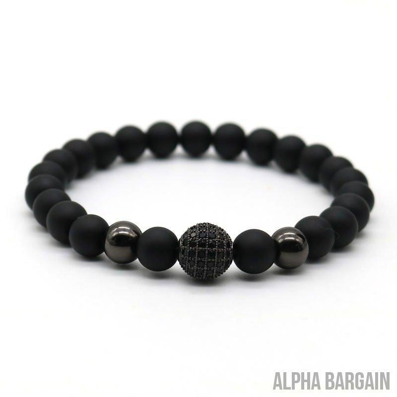 Black Rhodium Plated Zircon Disco Ball Beaded Bracelet - Alpha Bargain