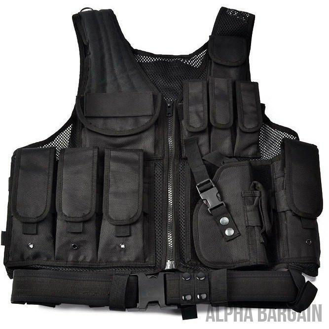ABC Police Tactical Hunting Vest Vital Survivalist Black One Size