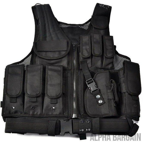 Image of ABC Police Tactical Hunting Vest Vital Survivalist Black One Size