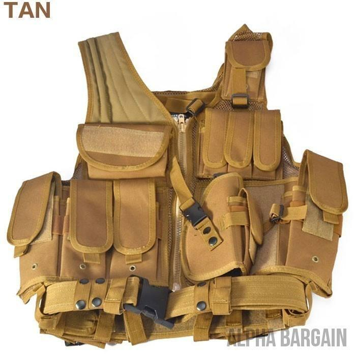 ABC Police Tactical Hunting Vest Vital Survivalist Tan One Size