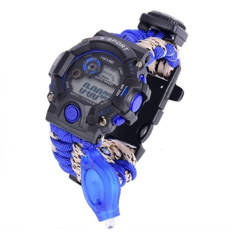 Waterproof Paracord Watch With Compass , Flint and Whistle - Alpha Bargain