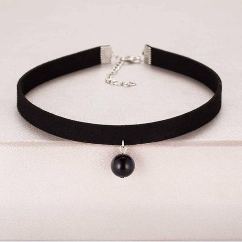 Image of Pendant Choker Necklace Alpha Bargain Black