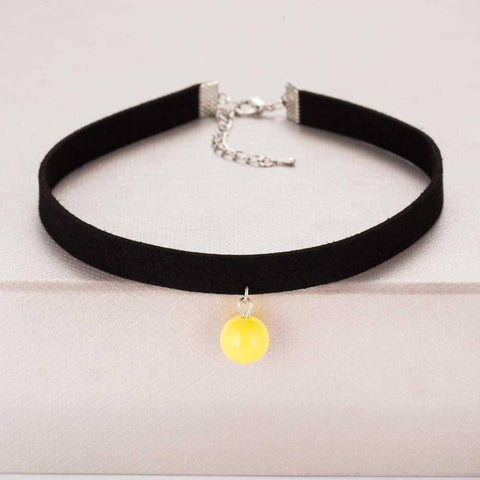 Image of Pendant Choker Necklace Alpha Bargain Yellow
