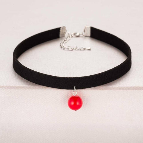 Image of Pendant Choker Necklace Alpha Bargain Red