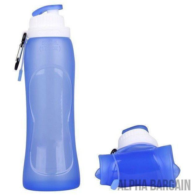 500ml Eco-Friendly Silicone Travel Collapsible Water Bottles Alpha Bargain 0.5L Blue