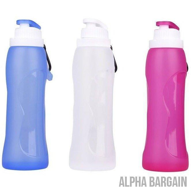 500ml Eco-Friendly Silicone Travel  Collapsible Water Bottles - Alpha Bargain