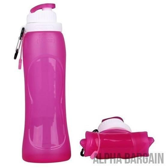 500ml Eco-Friendly Silicone Travel Collapsible Water Bottles Alpha Bargain 0.5L Orchid