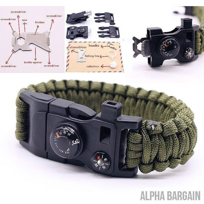 Buy 3 Get 1 Free! - 15 in 1 Multifuctional Outdoor Survival Bracelets - Alpha Bargain