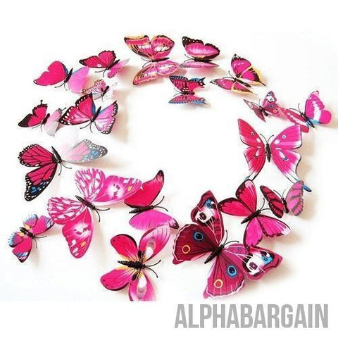 Image of 3D Butterfly Wall Stickers - Buy 3 Get 1 FREE! Alpha Bargain rose redblue - 12 Butterflies