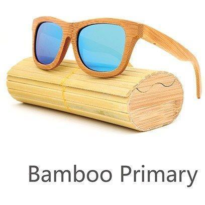 Image of New Handmade Bamboo Sunglasses Alpha Bargain Blue