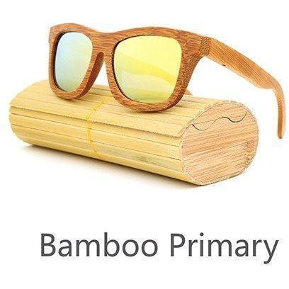 Image of New Handmade Bamboo Sunglasses Alpha Bargain Gold