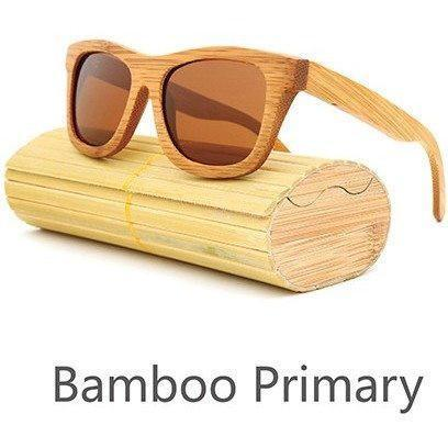 Image of New Handmade Bamboo Sunglasses Alpha Bargain Brown