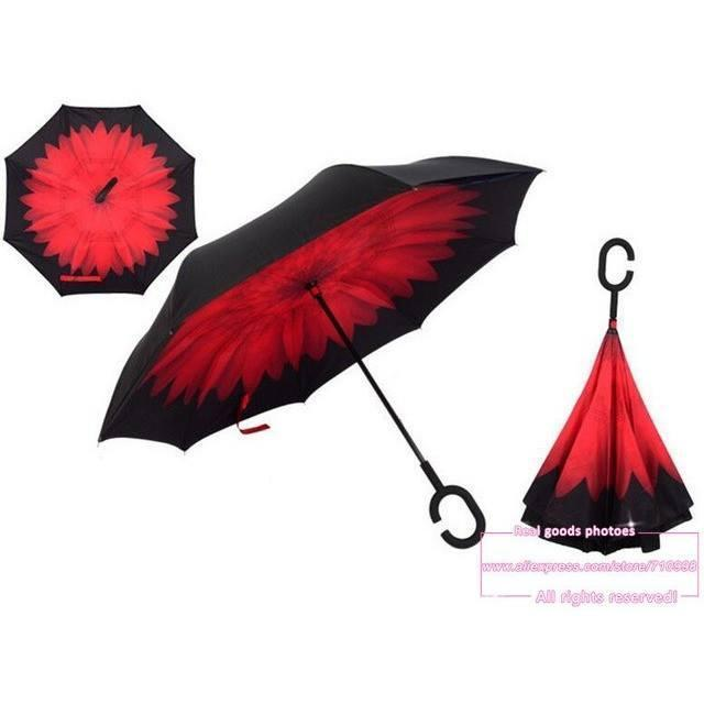 RED Daisy DOUBLE LAYER C-SHAPED HANDLE REVERSIBLE UMBRELLA - Alpha Bargain