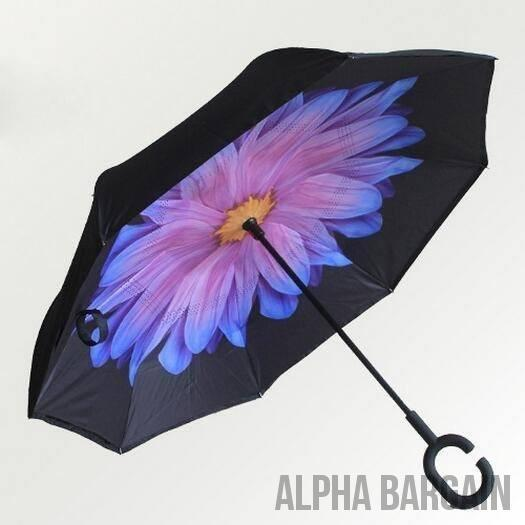 Daisy DOUBLE LAYER C-SHAPED HANDLE REVERSIBLE UMBRELLA - Alpha Bargain
