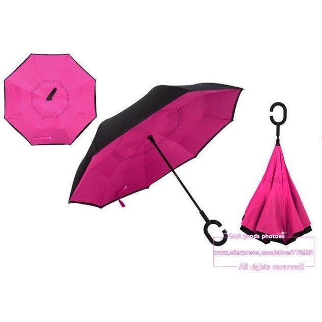 hot pink  DOUBLE LAYER C-SHAPED HANDLE REVERSIBLE UMBRELLA - Alpha Bargain