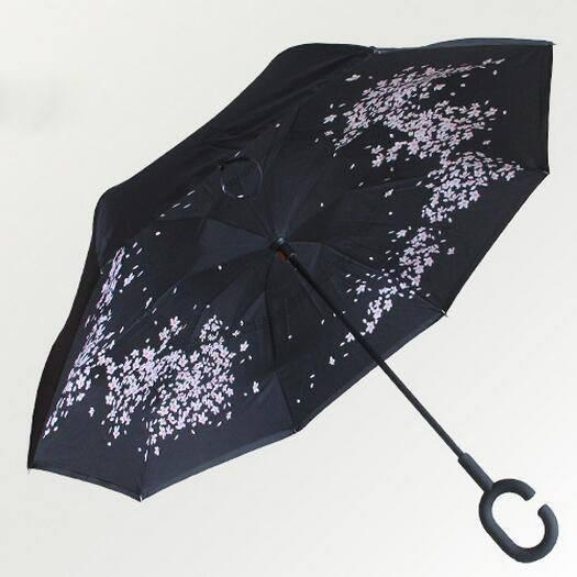 floral DOUBLE LAYER C-SHAPED HANDLE REVERSIBLE UMBRELLA - Alpha Bargain