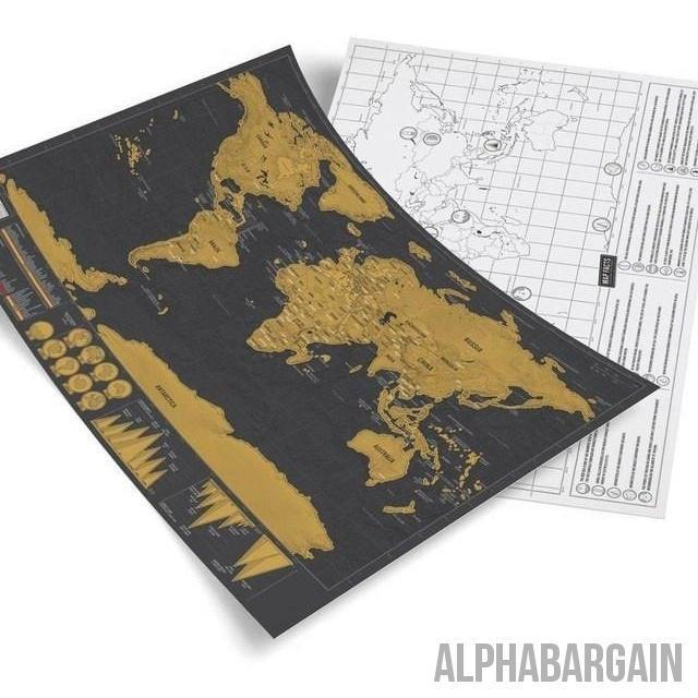 Deluxe Scratch Off Map - 42 x 29.7 cm - Alpha Bargain