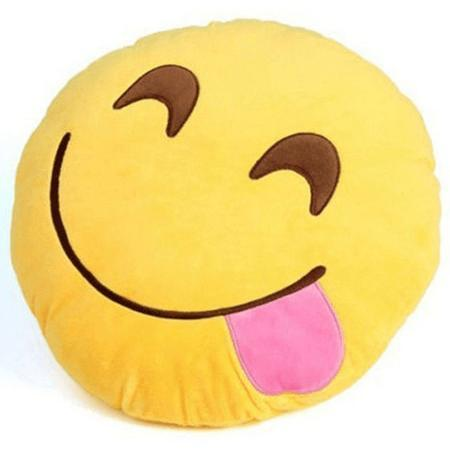 High Quality Emoji Pillow Cushion Alpha Bargain tongue to the side