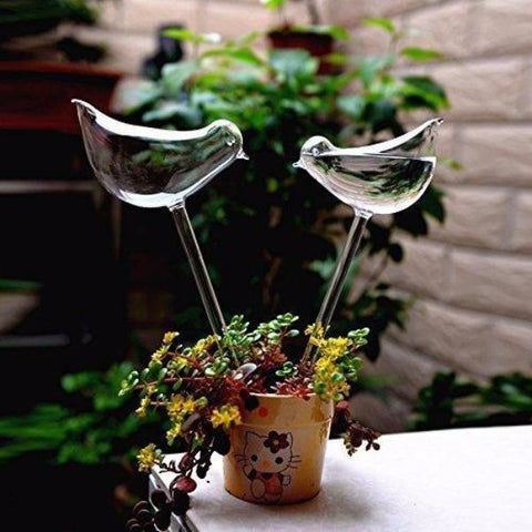 Image of 2 Pcs Hand Blown Bird Shaped Automatic Plant Watering Bulbs Alpha Bargain