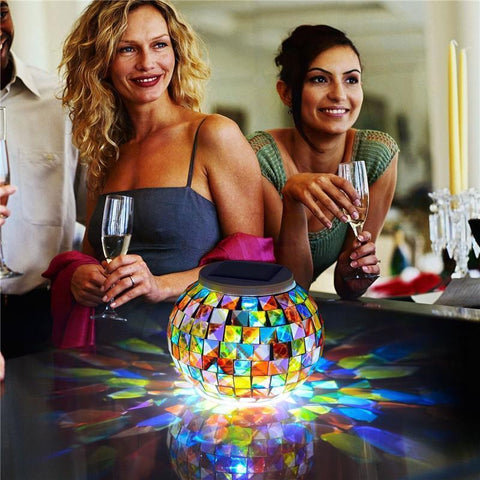 Image of Solar Powered Mosaic Glass Ball Alpha Bargain
