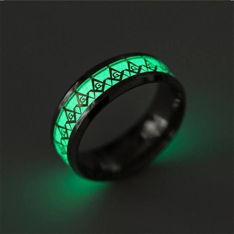 Masonic Symbol Glow Ring - Alpha Bargain