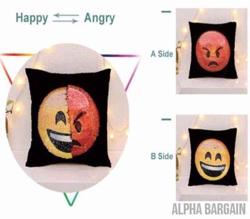 "Face Changing Emoji Pillow Covers Alpha Bargain Angry/Happy 16""x16"" (40*40)"