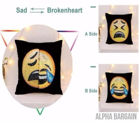 "Image of Face Changing Emoji Pillow Covers Alpha Bargain Sad/Laughing 16""x16"" (40*40)"