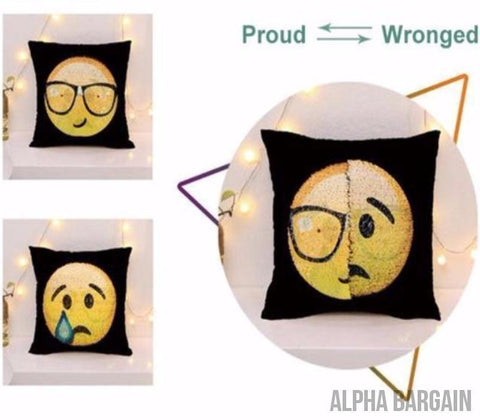 "Image of Face Changing Emoji Pillow Covers Alpha Bargain Proud/Disappointed 16""x16"" (40*40)"