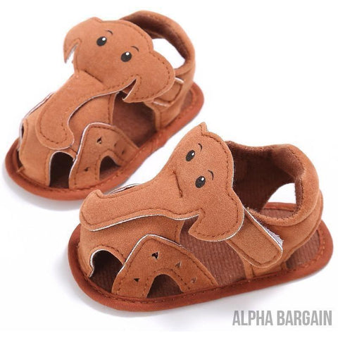 Image of Cute Elephant Baby Shoes Alpha Bargain Brown 3