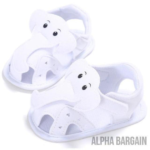 Image of Cute Elephant Baby Shoes Alpha Bargain White 3