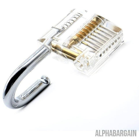 Image of DAC Transparent Pick Practice Padlock Lock With Key, Removing Hooks & Lock Kit Extractor Set Gadget Alpha Bargain