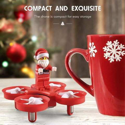 Image of Flying Santa Claus Mini RC Drone Alpha Bargain Red Color