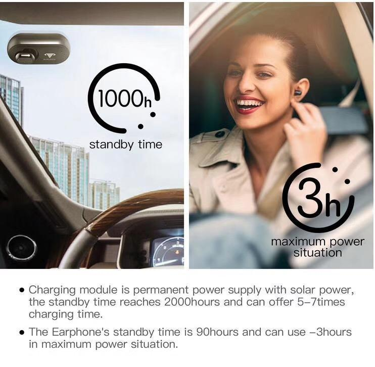 Solar Powered Bluetooth Car Earphone - Alpha Bargain
