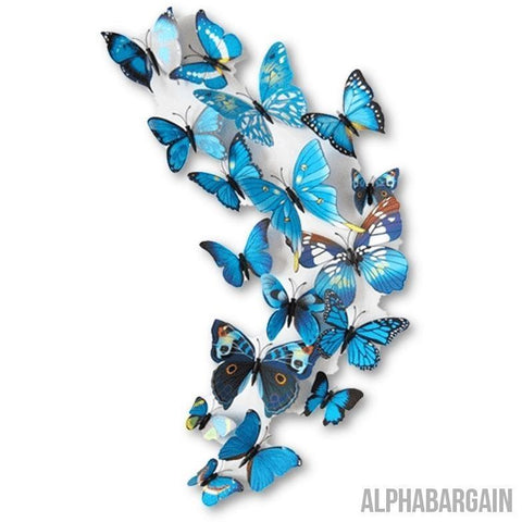 Image of 3D Butterfly Wall Stickers - Buy 3 Get 1 FREE! Alpha Bargain blue - 12 Butterflies