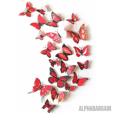 Image of 3D Butterfly Wall Stickers - Buy 3 Get 1 FREE! Alpha Bargain redblue - 12 Butterflies