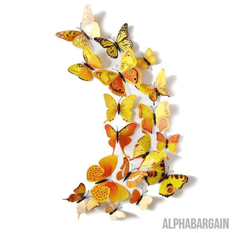 Image of 3D Butterfly Wall Stickers - Buy 3 Get 1 FREE! Alpha Bargain yellowblue - 12 Butterflies