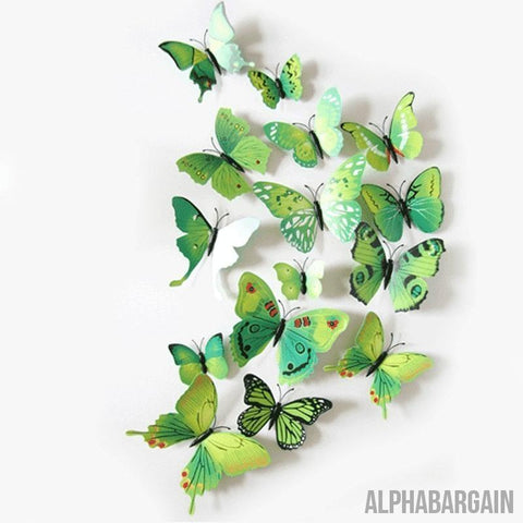 Image of 3D Butterfly Wall Stickers - Buy 3 Get 1 FREE! Alpha Bargain greenblue - 12 Butterflies