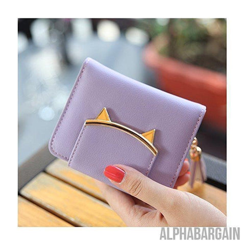 Adorable Small Wallet Cat Ears Coin Purse Alpha Bargain Purple