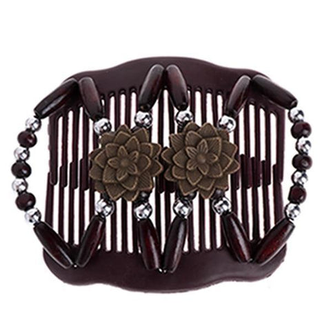 Fashion Magic Beads Double Hair Comb Hair Jewelry Alpha Bargain Coffee